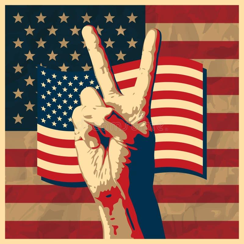 Le signe de victoire avec le fond d'indicateur des Etats-Unis. illustration de vecteur
