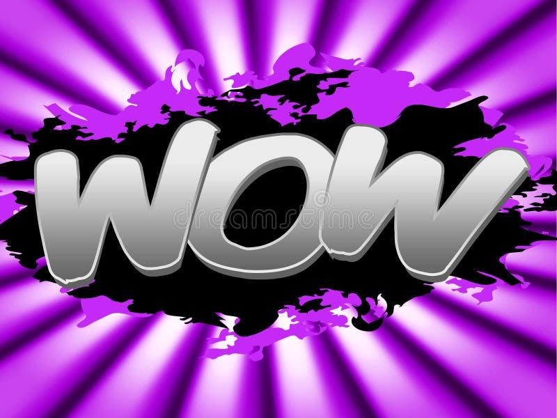 Le signe de wow montre l'affichage et la confusion impressionnants illustration stock