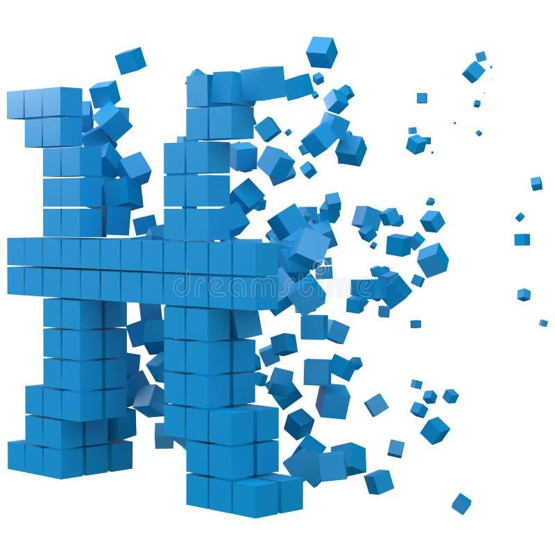 Le signe de zodiaque de Poissons a formé le bloc de données version avec les cubes bleus illustration de vecteur de style du pixe illustration stock