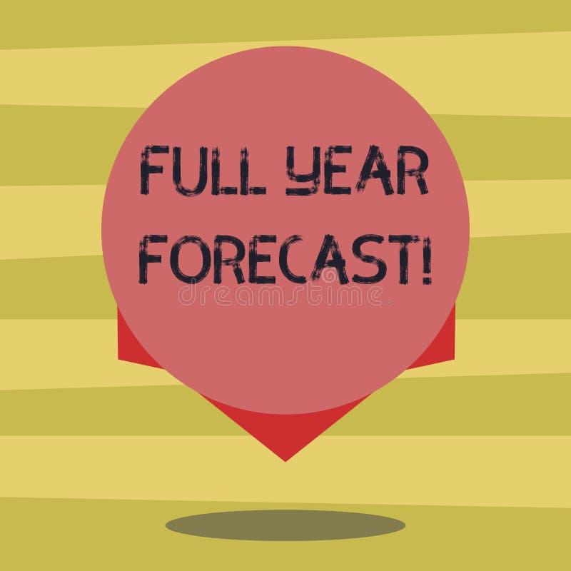 Le signe des textes montrant à pleine prévision d'année l'évaluation conceptuelle de photo du perforanalysisce financier actuel f illustration de vecteur