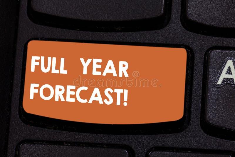 Le signe des textes montrant à pleine prévision d'année l'évaluation conceptuelle de photo du perforanalysisce financier actuel f photos stock