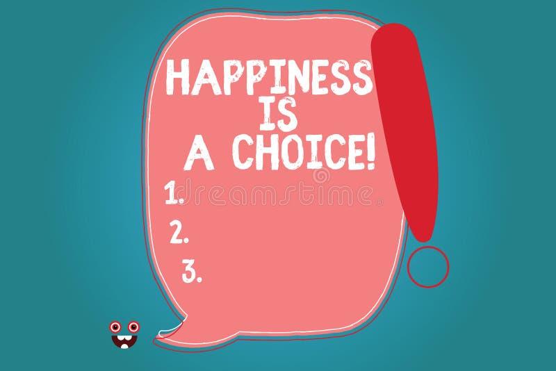 Le signe des textes montrant le bonheur est un choix Blanc motivé inspiré gai heureux de séjour conceptuel de photo tout le temps illustration stock