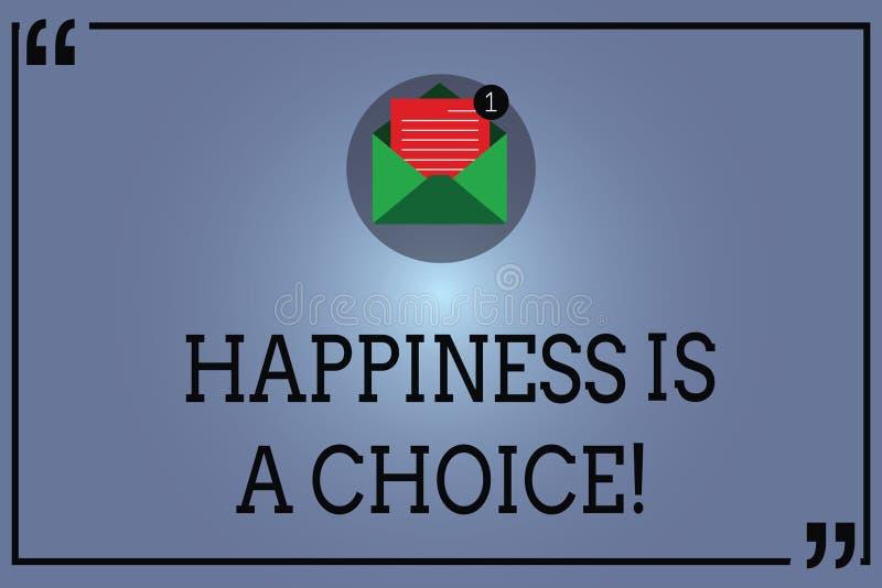 Le signe des textes montrant le bonheur est un choix Gais heureux de séjour conceptuel de photo tout le temps inspirés motivé s'o illustration libre de droits