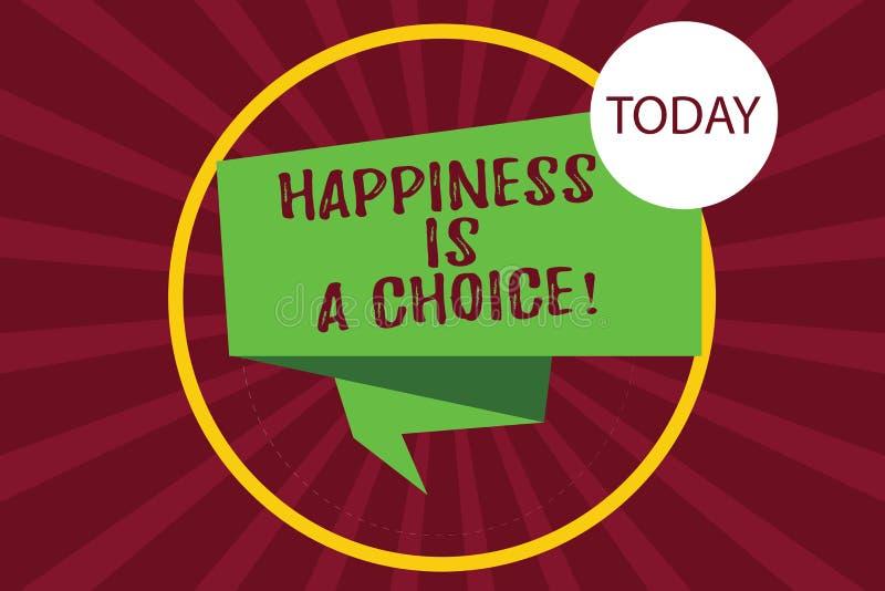 Le signe des textes montrant le bonheur est un choix Séjour conceptuel tout le temps 3D plié motivé inspiré gai heureux de photo illustration de vecteur