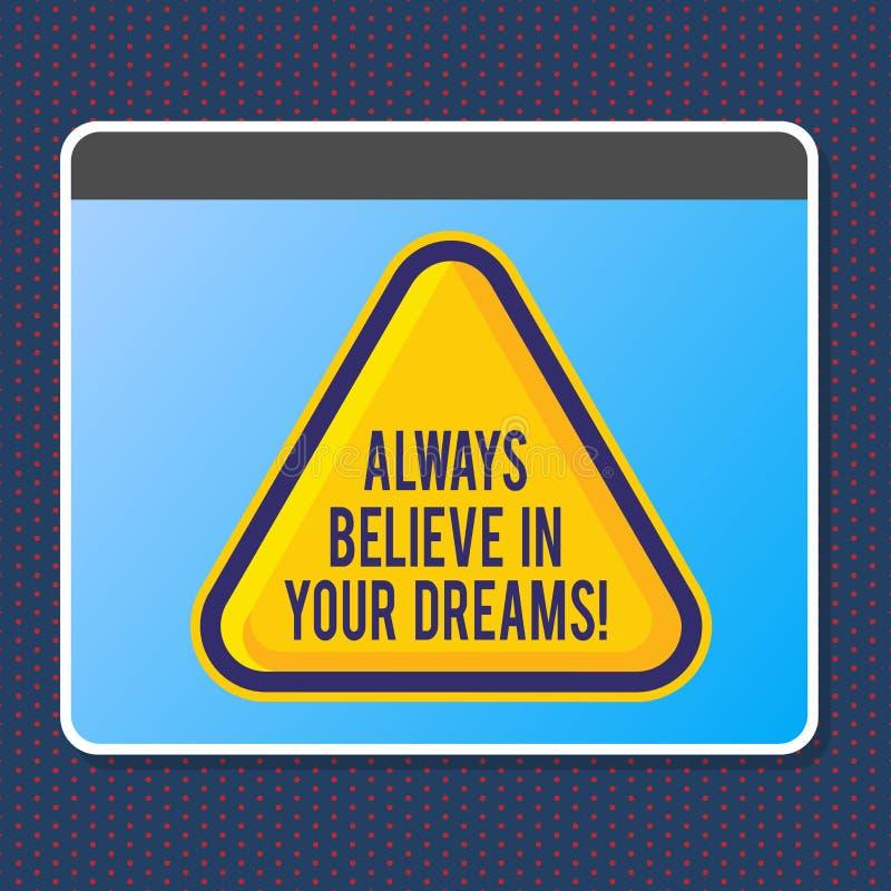 Le signe des textes montrant croient toujours en vos rêves Foi conceptuelle de confiance de photo croyant en vous-même illustration libre de droits