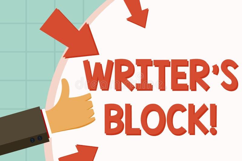 Le signe des textes montrant l'auteur s est bloc État conceptuel de photo de ne pouvoir pas faire un morceau de la main écrite de illustration libre de droits