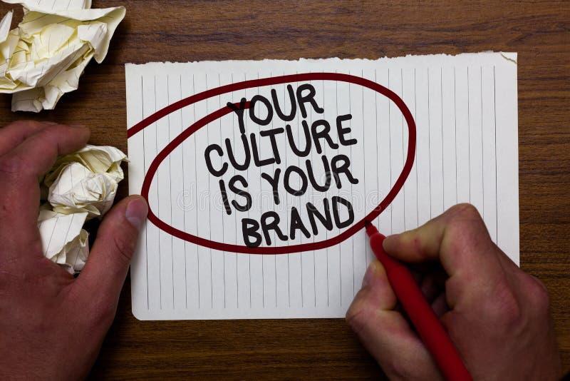 Le signe des textes montrant votre culture est votre marque Les expériences conceptuelles de la connaissance de photo sont un lob images libres de droits