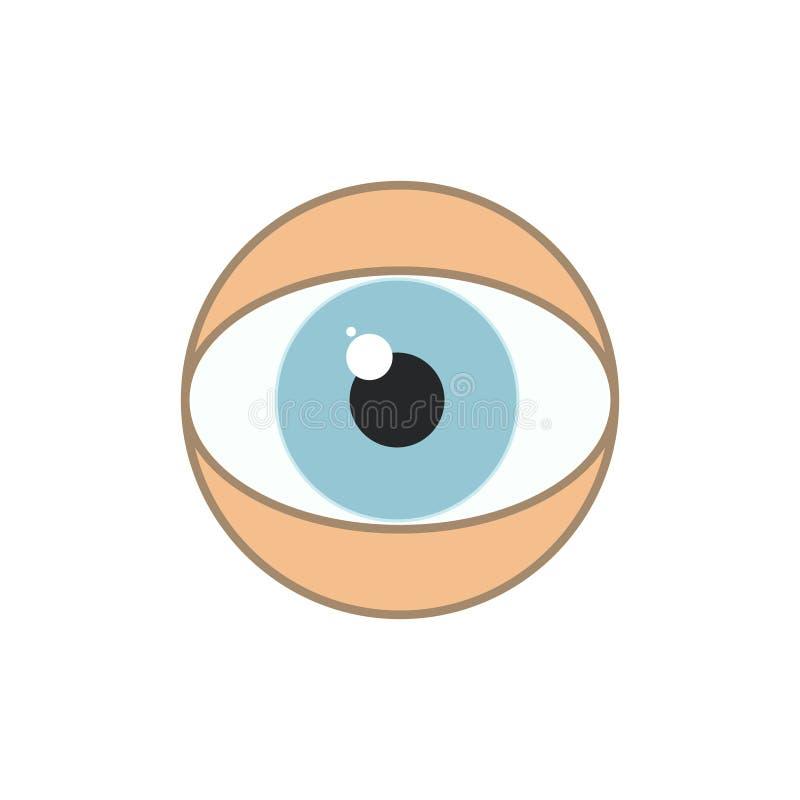 Le signe du Caucasien d'oeil humain, yeux bleus dirigent la ligne plate illustration stock