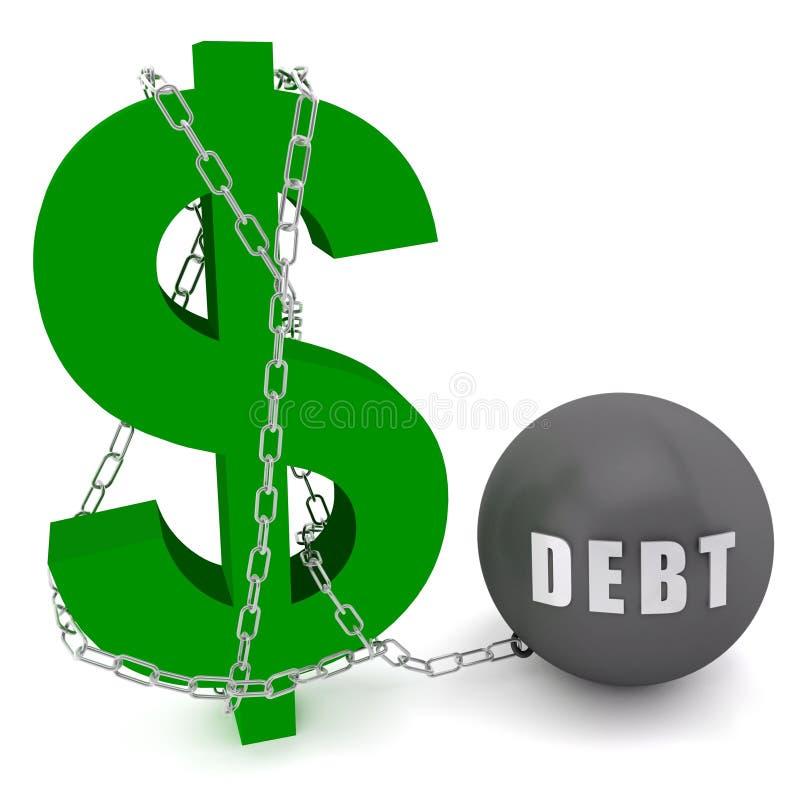 Le signe du dollar s'est connecté dans un réseau de dette illustration libre de droits