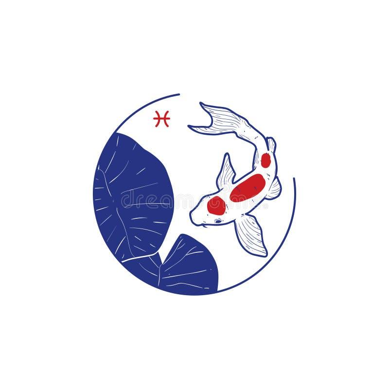 Le signe du zodiaque Poissons illustration stock