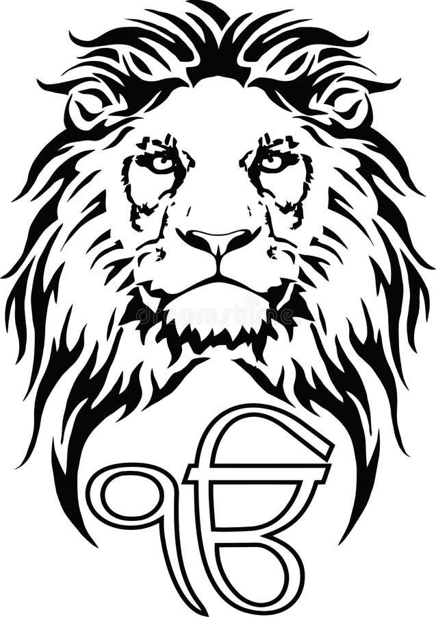 Le signe Ek Onkar est le symbole le plus significatif de Sikhisme, d?cor? d'un lion illustration stock