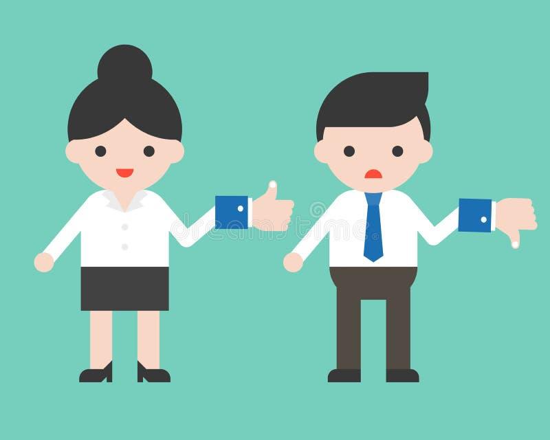 Le signe et la femme d'affaires mignons d'aversion de prise d'homme d'affaires se tiennent comme s illustration de vecteur