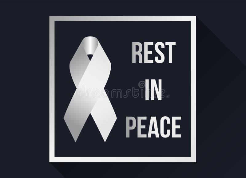 Le signe et le repos blancs de ruban dans la paix textotent dans le cadre blanc sur le fond foncé illustration libre de droits