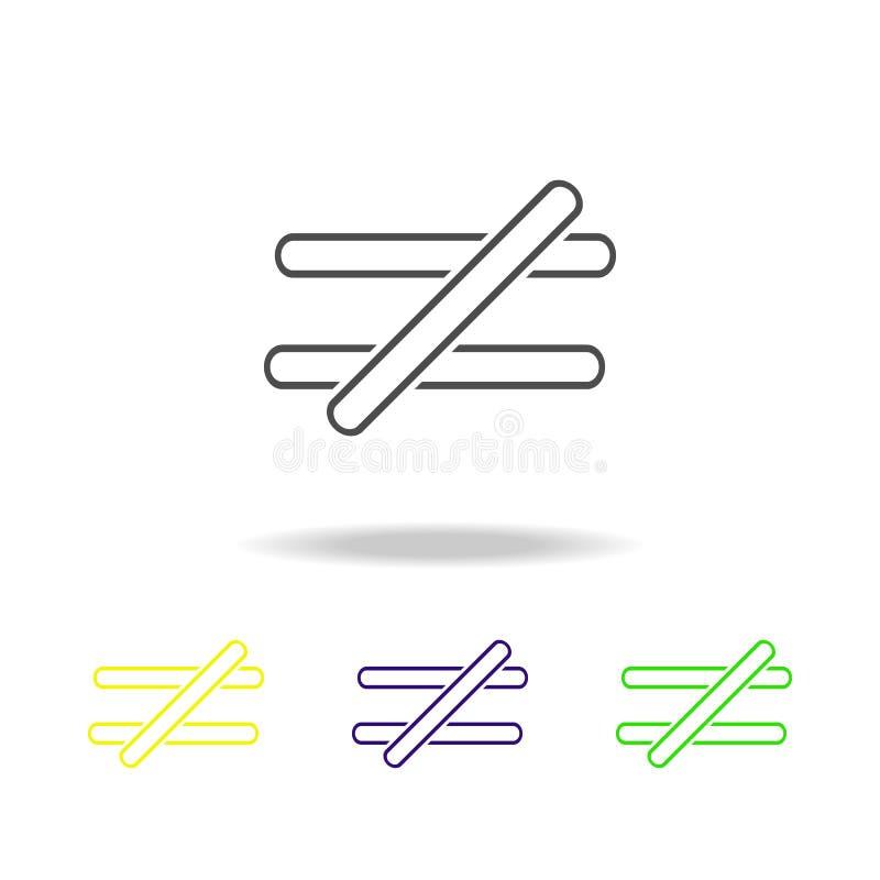 le signe n'est pas égal aux icônes multicolores Ligne mince icône pour la conception de site Web et le développement d'appli Icôn illustration de vecteur