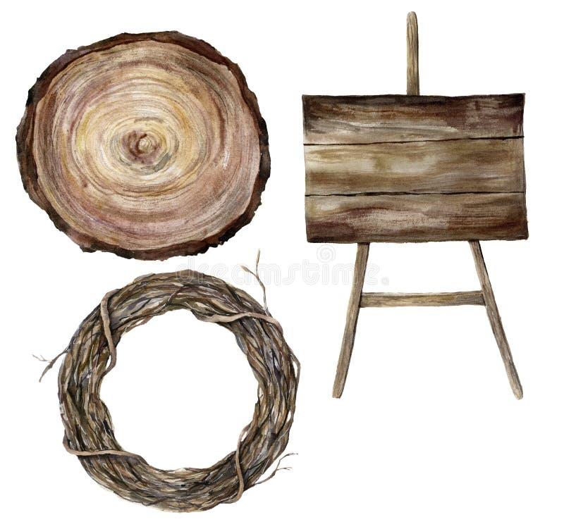 Le signe texturisé woodern d'aquarelle, la section transversale d'un arbre et la branche d'arbre tressent Accessoires de mariage  illustration stock