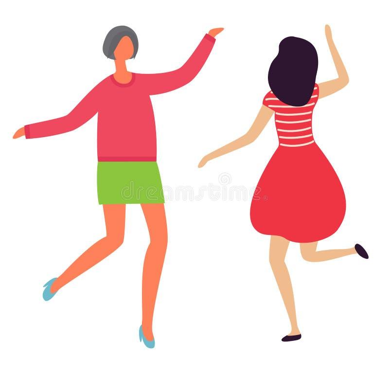 Le signore allegre ballanti appoggiano Front View Flat Style illustrazione vettoriale