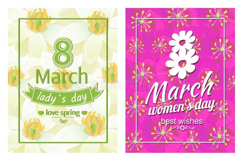 Le signore il giorno amore primavera manifesti dell'8 marzo mandano un sms al fiore illustrazione di stock