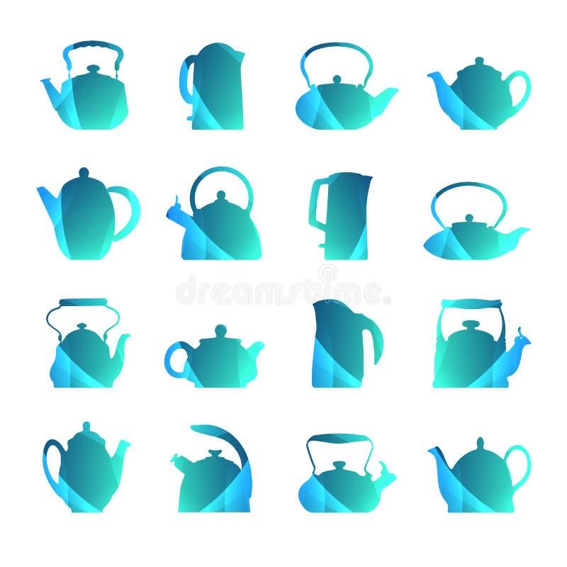 Le siluette di vettore hanno stilizzato l'insieme piano della teiera di logo isolato Teapo royalty illustrazione gratis