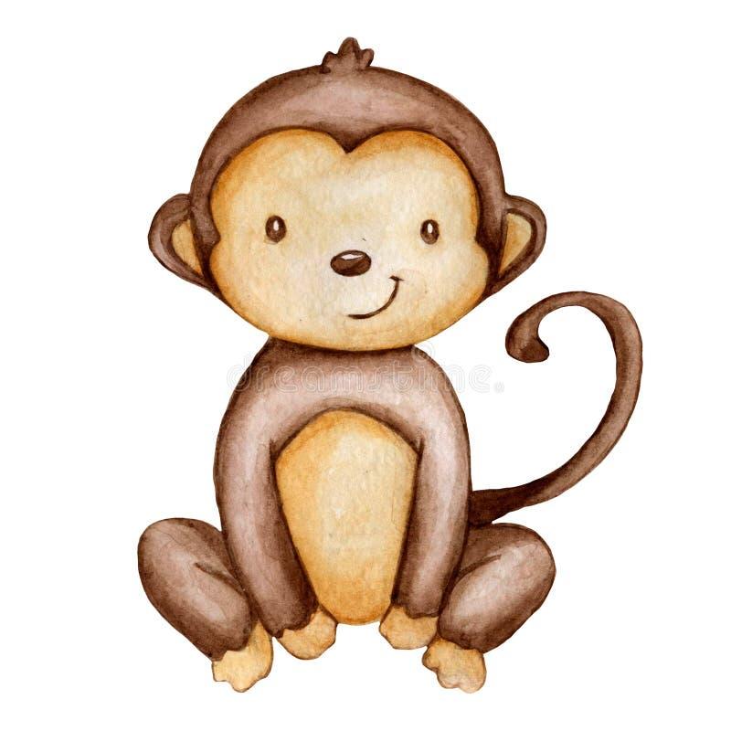 Le singe d'aquarelle d'aspiration de main a isolé image libre de droits
