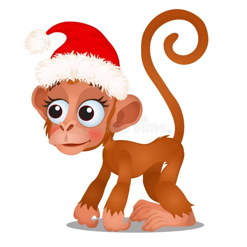 Le singe mignon dans un chapeau rouge de Santa Claus a isolé sur un fond blanc Croquis d'affiche de fête de Noël, partie illustration stock