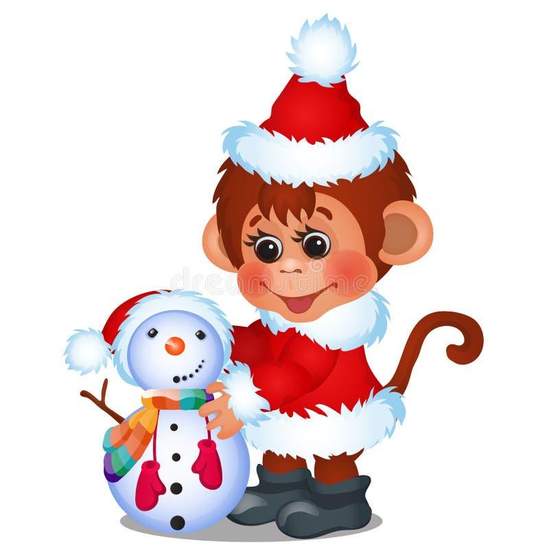 Le singe mignon habillé comme Santa Claus sculpte le bonhomme de neige d'isolement sur un fond blanc Croquis d'affiche de fête de illustration de vecteur