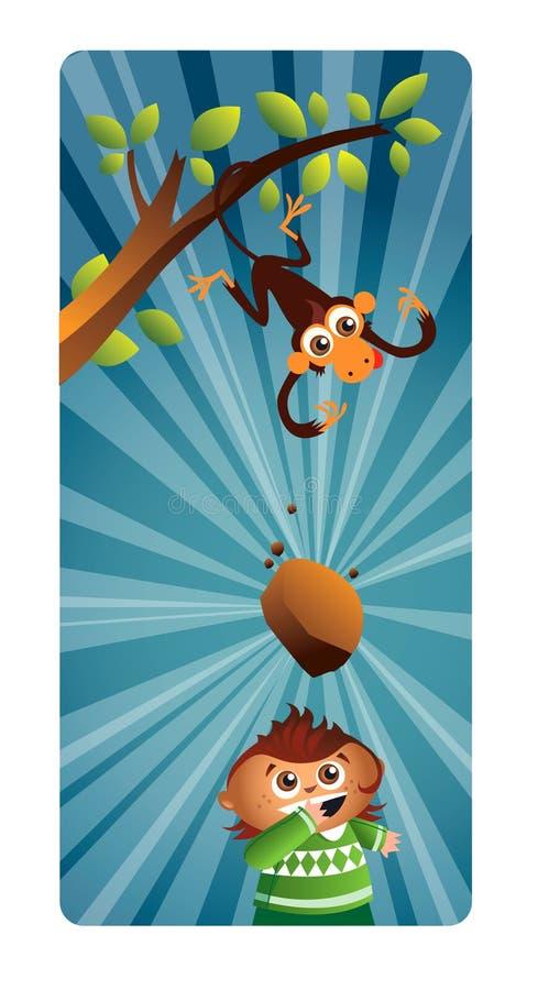 Le singe projette une pierre photos stock
