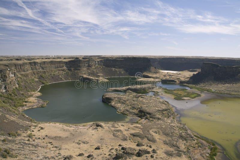 Le site de la cascade antique, lacs Sun sèchent le parc d'état d'automnes, Washi photos stock