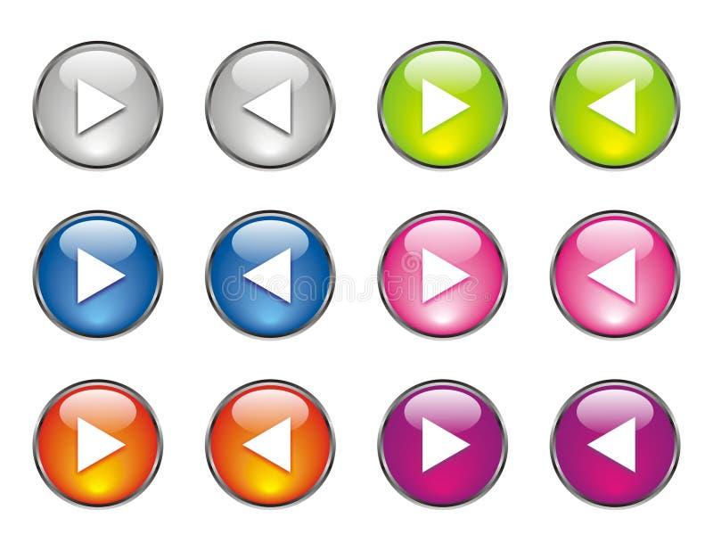 Le site Web boutonne beaucoup de couleurs illustration stock