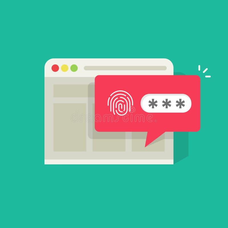 Le site Web en navigateur a ouvert une session ou a ouvert par l'intermédiaire de l'avis de bulle de mot de passe d'empreinte dig illustration de vecteur