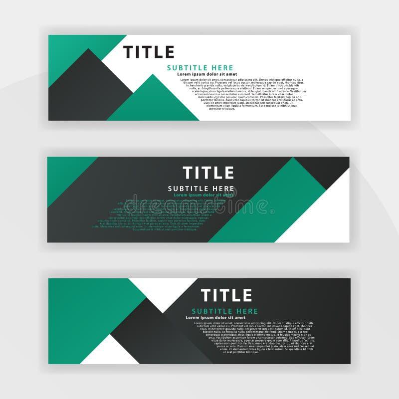 le sixième ensemble de Benner est couleur vert-foncé, approprié aux sociétés professionnelles a conçu pour être en ligne comme de illustration de vecteur