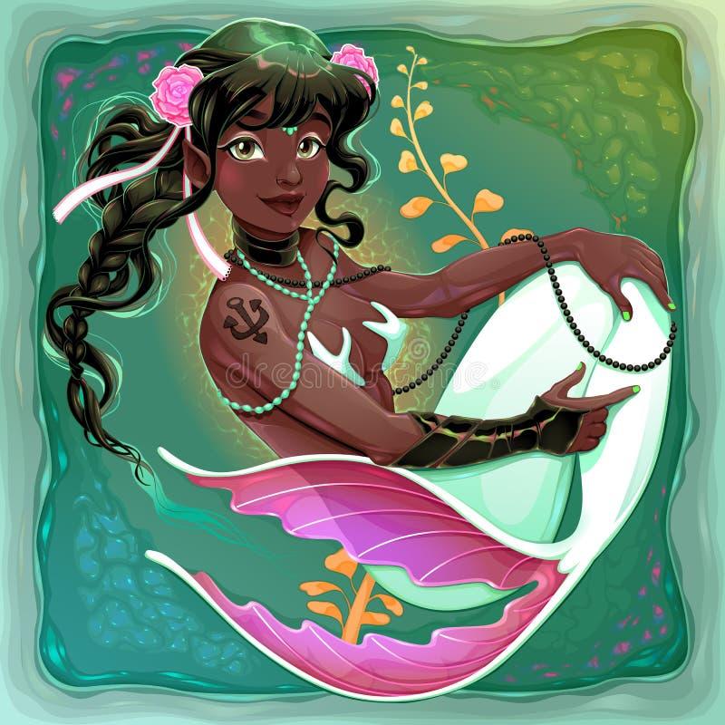Le sjöjungfrun med svansen för vit fisk stock illustrationer