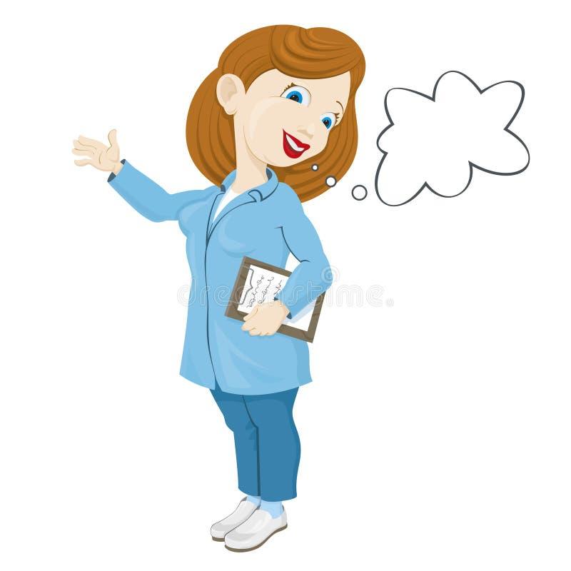 Le sjuksköterskan i ett labblag stock illustrationer
