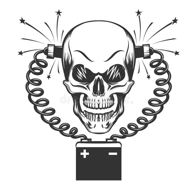 Le skalle- och bilbatteriet stock illustrationer