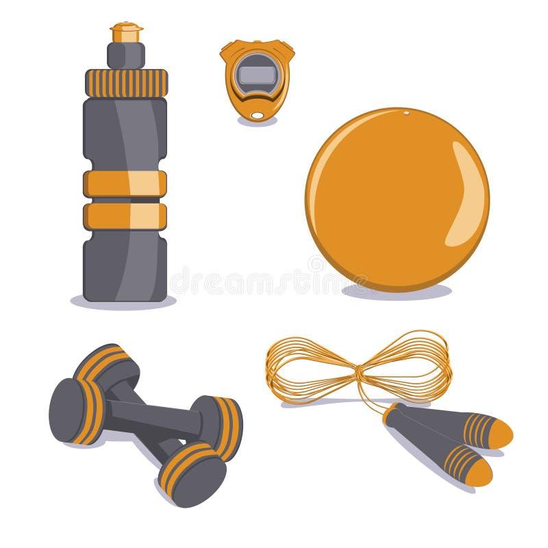 le ski d'illustration de matériel de coloration folâtre l'eau Vecteur Boule, bouteille, chronomètre, corde de saut, D illustration libre de droits