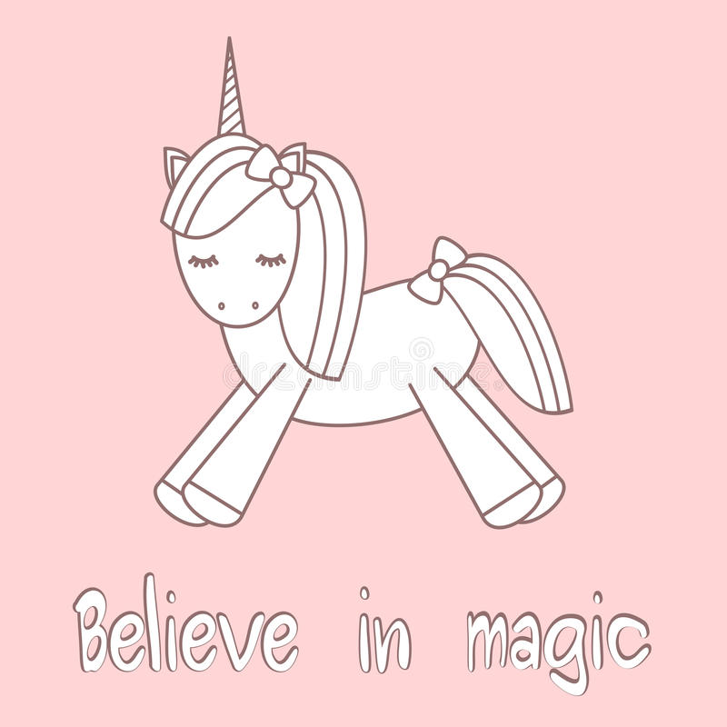 Le slogan tiré par la main de lettrage croient en carte de motivation magique avec la licorne mignonne de bande dessinée illustration stock