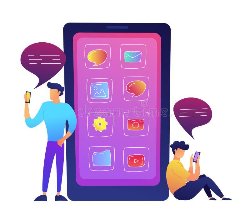 Le smartphone énorme avec des icônes d'apps et deux utilisateurs communiquant avec le media social dirigent l'illustration illustration de vecteur