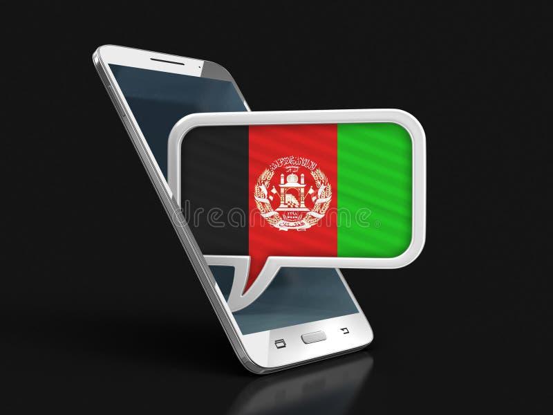 Le smartphone et la parole d'écran tactile bouillonnent avec le drapeau afghani illustration de vecteur