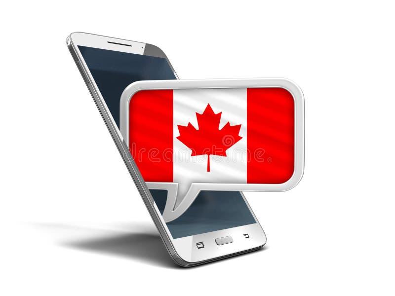 Le smartphone et la parole d'écran tactile bouillonnent avec le drapeau canadien illustration libre de droits