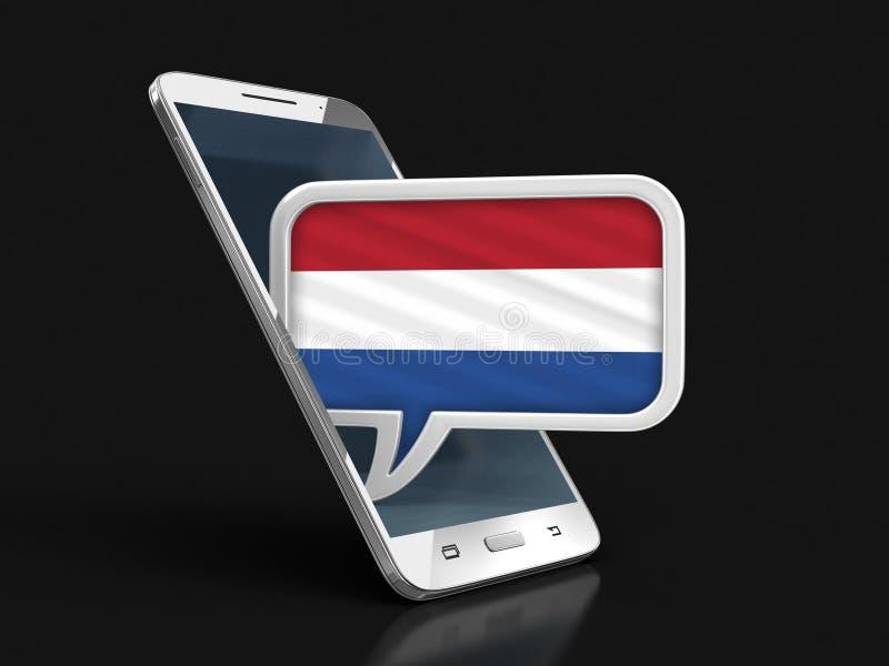 Le smartphone et la parole d'écran tactile bouillonnent avec le drapeau néerlandais illustration stock