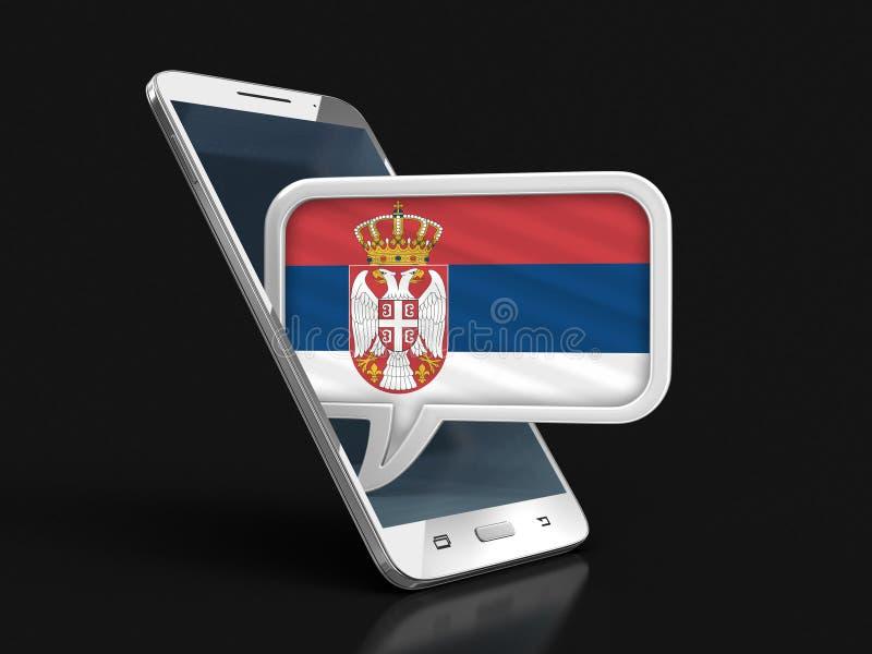 Le smartphone et la parole d'écran tactile bouillonnent avec le drapeau serbe illustration libre de droits