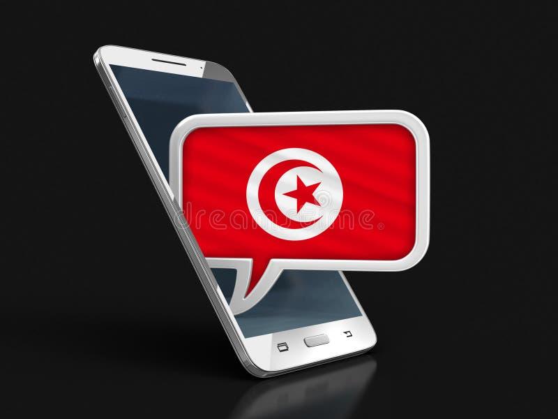 Le smartphone et la parole d'écran tactile bouillonnent avec le drapeau tunisien illustration stock