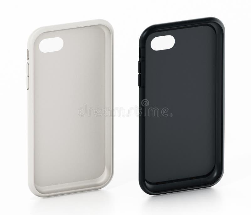 Le smartphone générique blanc et noir couvre d'isolement sur le fond blanc illustration 3D illustration stock