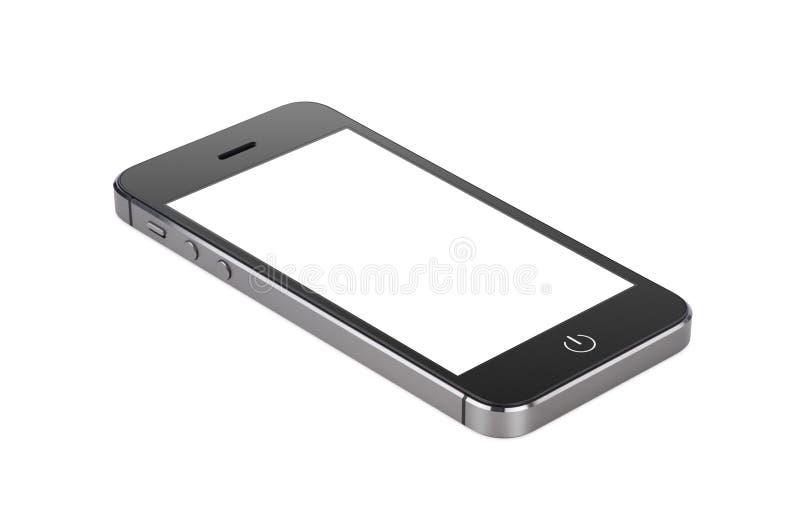 Le smartphone moderne noir avec l'écran vide se trouve sur la surface photographie stock