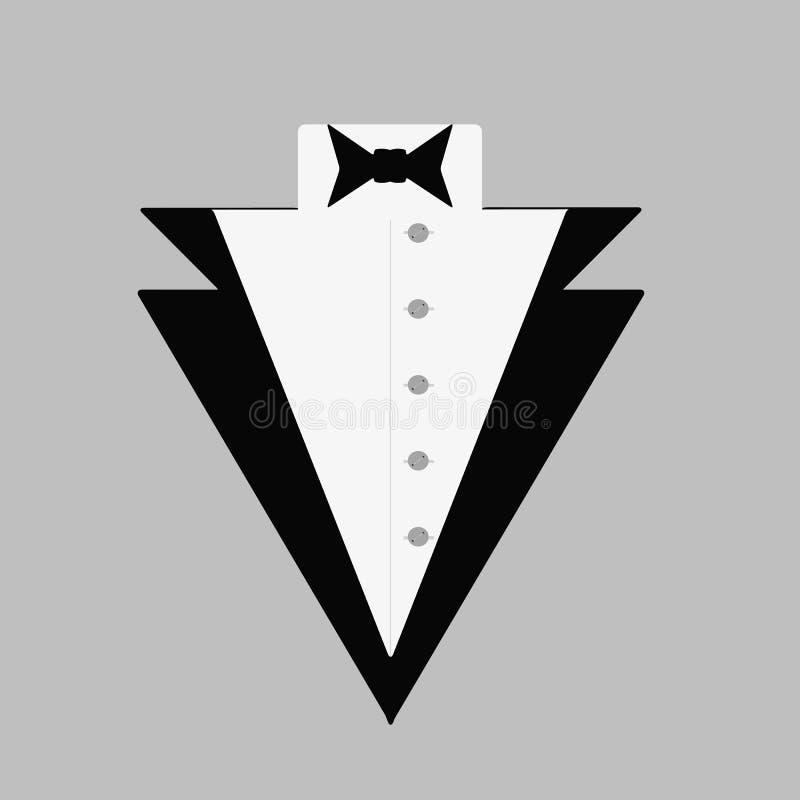 Le smoking de l'homme avec un noeud papillon et une chemise boutonn?e Le logo du monsieur Illustration de vecteur illustration libre de droits