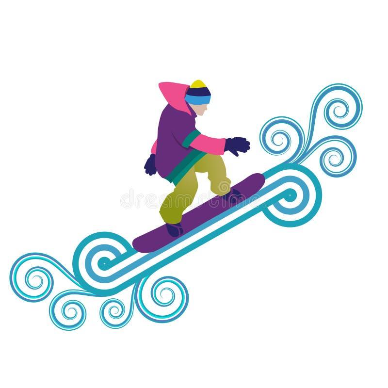 Le Snowboarder sautant par l'air photographie stock libre de droits