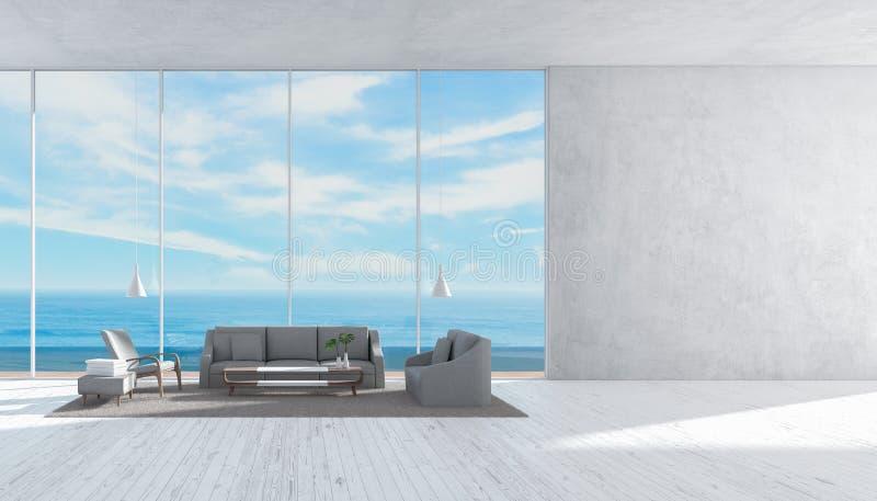 Le sofa en bois de plancher de salon intérieur moderne a placé le mur de rendu de l'été 3d de vue de mer pour le calibre de maque illustration libre de droits