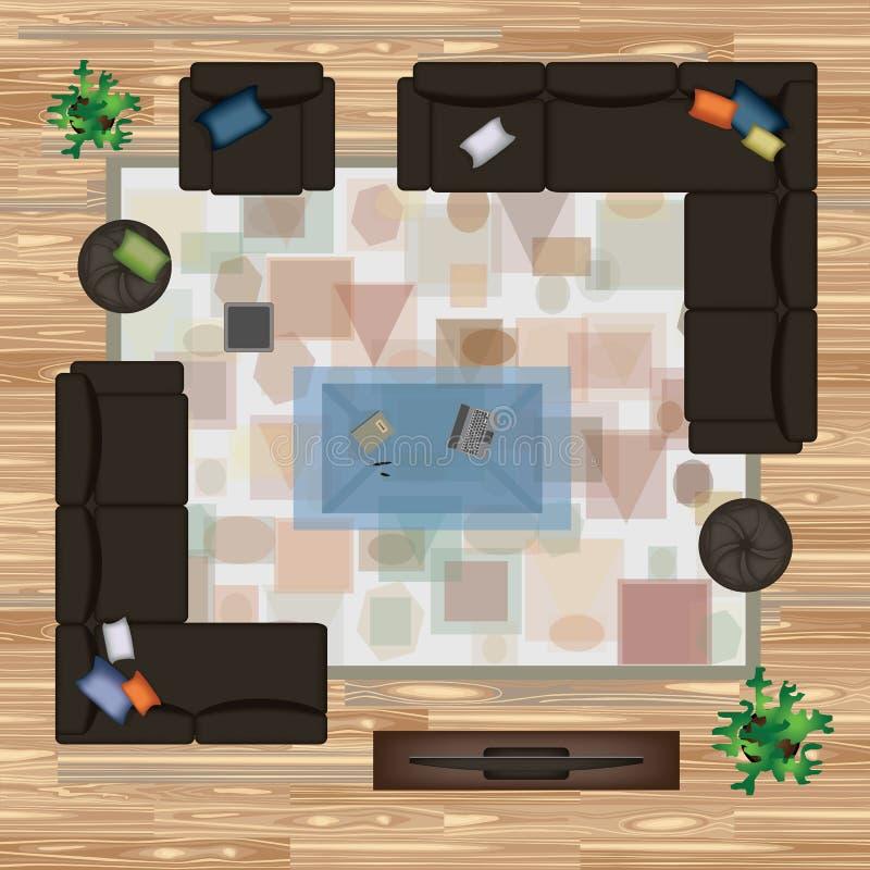 Le sofa, fauteuil, oreillers, tapis, table basse, pouf, plante l'illustration de vecteur Meubles réglés pour la conception intéri illustration libre de droits