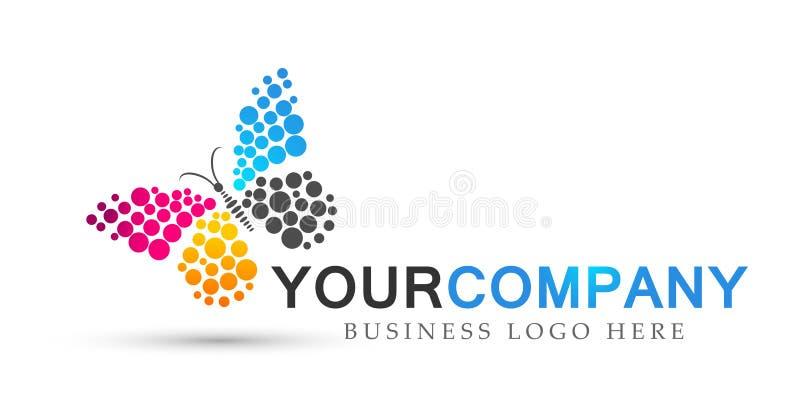 Le soin coloré de mode de vie de station thermale de beauté de papillon détendent l'icône de logo d'ailes d'abrégé sur yoga sur l illustration de vecteur