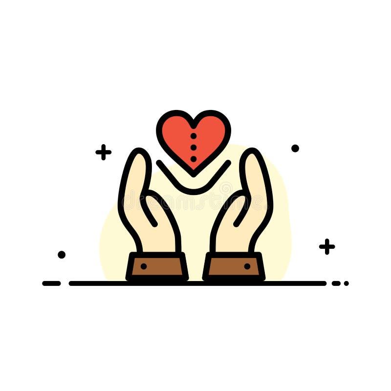Le soin, compassion, sentiments, coeur, ligne plate d'affaires d'amour a rempli calibre de bannière de vecteur d'icône illustration libre de droits