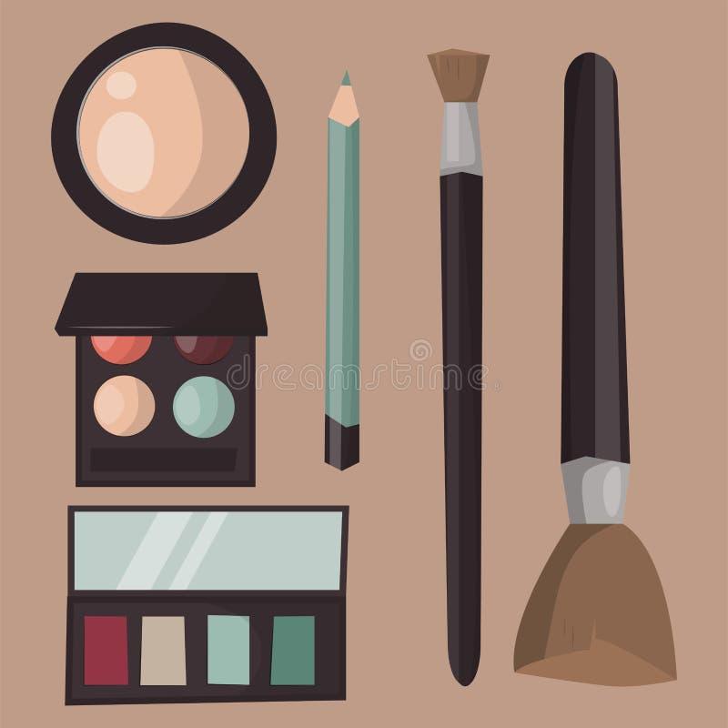 Le soin de mascara de parfum d'icônes de maquillage balaye le vecteur accessoire femelle de charme de fard à paupières fait face  illustration de vecteur